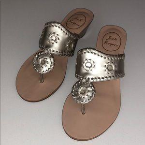 JACK ROGERS Platinum Low Heel Demi Wedge Sandals